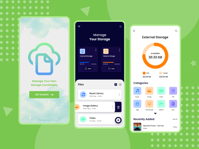 File Manager App UI managment media vector ux ui uiuxdesign design illustration application ui mobile app app design creative design clean ui uxdesign uidesign minimal files file manager storage app storage