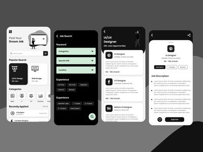 Job Search App UI Concept application mobile app design adobexd ux ui uiux design app design application ui mobile app clean ui creative design uxdesign uidesign minimal job application jobseeker jobsearch jobsite jobs
