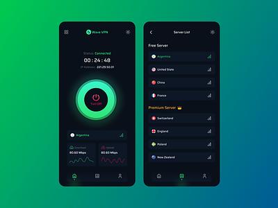 Wave VPN App uiux app feature connect uiinspiration uxtrends uitrends trendy design countries app design mobile app vpn app vpn design ux clean ui creative design ui uxdesign uidesign minimal