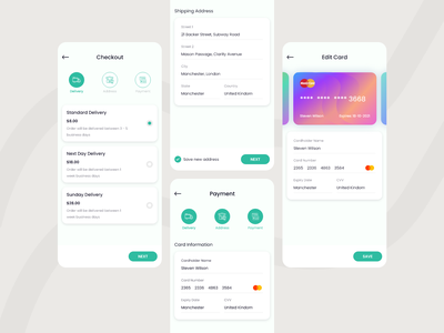 Checkout UI Concept trends figma uxinspiration uiinspiration credit card address android ios uiux delivery payment checkout design ux clean ui creative design ui uxdesign uidesign minimal