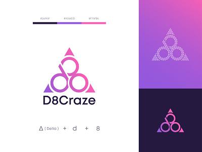 D8 Craze - Logo Design icon vector logo branding flat minimal illustration design logotype delta d8 logodesign