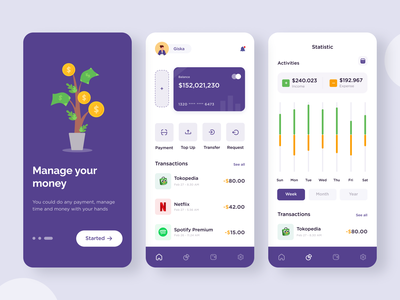 Wallet App ( Apilkasi Dompet Digital) uiux payment transaction fintech mobile ui mobile app investing invest wallet app money app money financial app finance app credit card ewallet digital card bank app banking app design