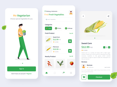 Me Vegetarian App (Vegetables App) product design ux ui vegetables app vegetable app vegetables vegetable grocery online grocery store groceries grocery app grocery delivery app corn healthy health herbs green chart app design
