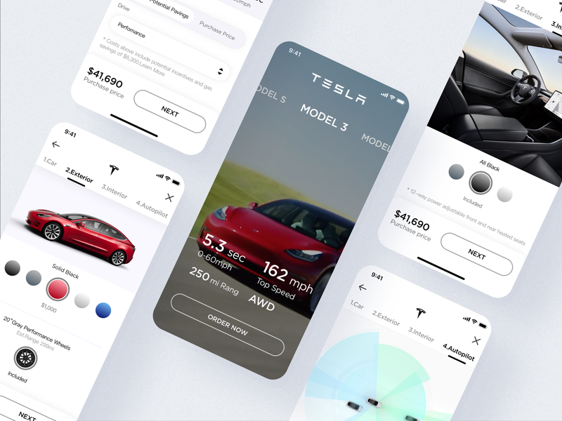 Tesla Model3 purchase process branding design tesla ui product mobile iphone interface theme car app