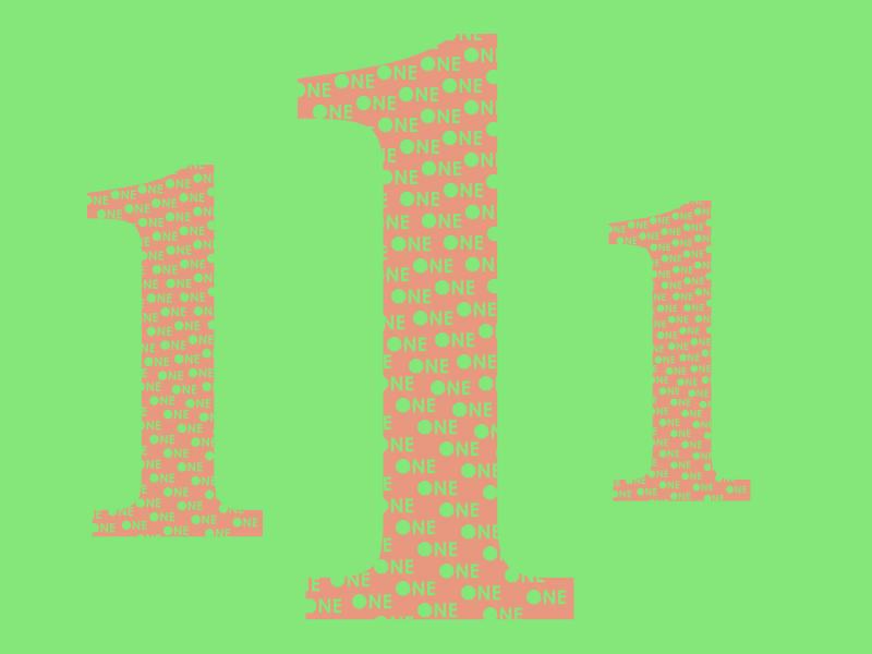 Typehue 1 one typography typehue number letter