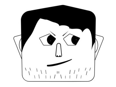 Grassy Beard Guy graphic illustration cool face untrimmed beard
