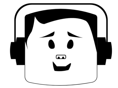 The Music Lover icon graphic illustration guy face music lover headphone