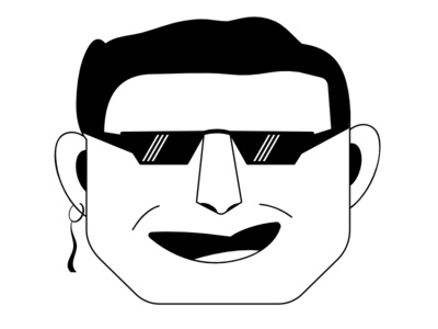 Another Famous Singer face graphic illustration cool ear ring shades goggles singer