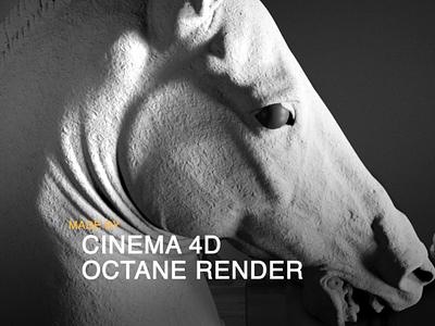 horse sculpture model octanerender c4d motion design motion graphic