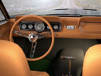 Mustang 1969 passenger POV octanerender 3d art cinema4d 3d modeling c4d