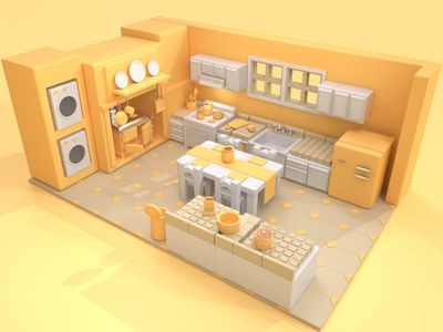 kitchen in yellow design 3d modeling c4d motion graphics animation 3d