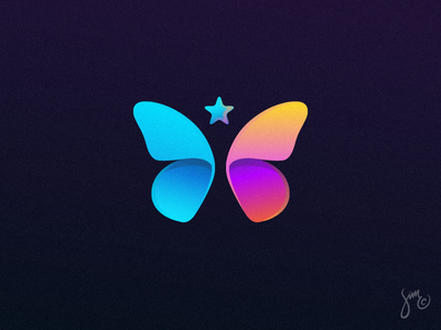 Butterfly | Logo Design colorful dark gradients star logo design app logo instagram butterfly