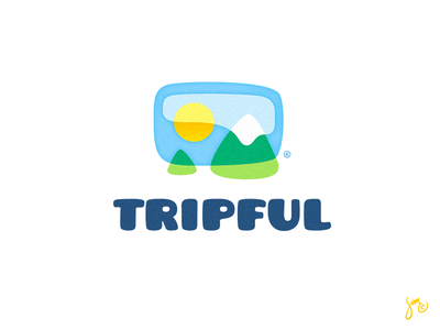 Tripful | Logo Design friendly light mountains sun soft sky logo app logo traveling travel