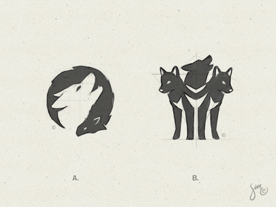 WOLVES | Sketches night sketches animal design black and white mark icon logo design negative space triple pack wolf sketch