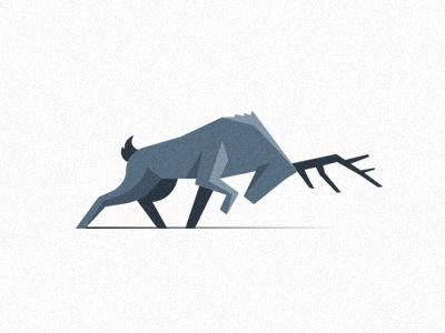 Deer /Illustrative Icon deer icon geometry simple flat light shadow shape blue fight