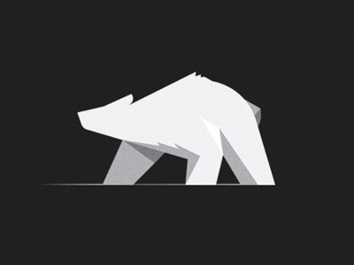 Bear /Illustrative Icon bear geometric dark light shadow flat solid constructive fur white line star