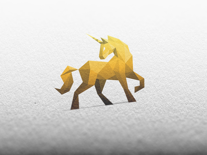 Golden Unicorn / Logo Design unicorn horse gold golden sports fitness gym power polygonal mockup paper logo