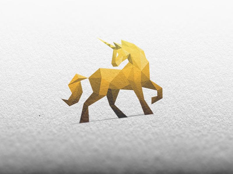 Golden Unicorn / Logo Design unicorn horse gold golden sports fitness gym power polygonal mockup paper logo