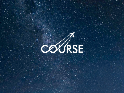 Course wordmark course way track path plane logo type space trip fly sky