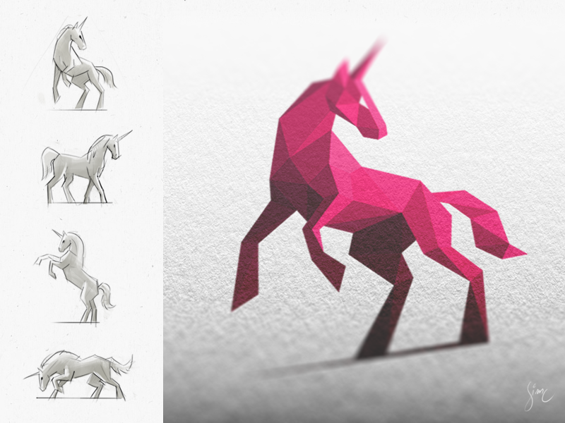 Licorne Rose / Pink Unicorn animal unicorn logo mark icon horse pink branding sketch mockup light atheism