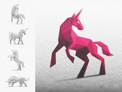 Licorne Rose / Pink Unicorn animal unicorn logo mark icon horse pink branding sketch mockup light atheism