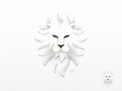 leo powerful head experiment shadow paper light white mark logo icon lion leo