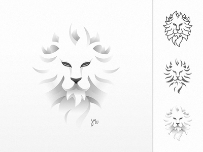 © leo | All Modes leo lion icon logo mark white light paper shadow experiment head powerful
