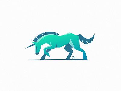 Unicorn #3 geometry brave crazy logo mark icon animal blue green horse unicorn