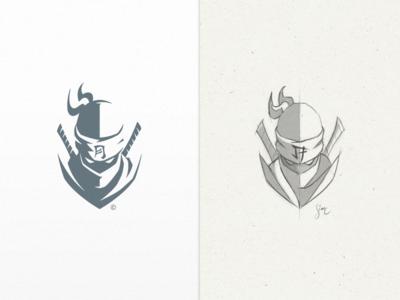 Arichiku | Logo Design process sketch negative space solid sword katana samurai ninja symbol mark icon logo