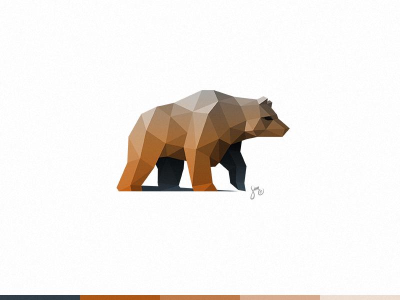 Bear | Logo Design nature animal vector brown polygon poly symbol icon logo branding grizzly bear