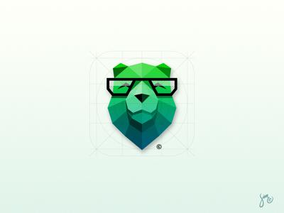 Bear | Icon Design logo trend style polygon ios green animal geek design app icon bear
