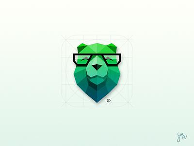 Bear   Icon Design logo trend style polygon ios green animal geek design app icon bear