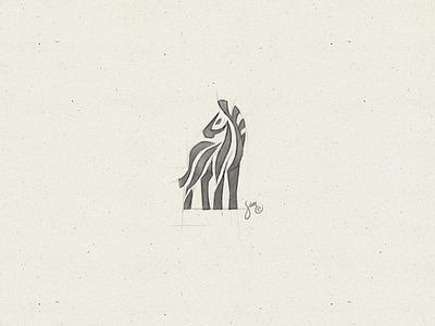 Zebra #8   Sketch zebra stripes sketch negative space mark majestic logo icon drawing concept