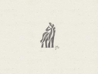 Zebra #8 | Sketch zebra stripes sketch negative space mark majestic logo icon drawing concept