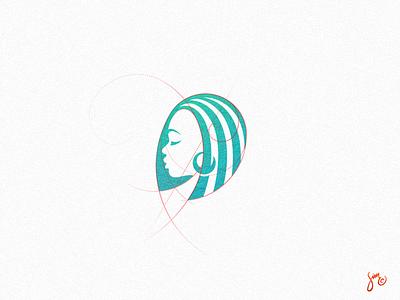 Dreamy Mark Concept simplistic grid profile negative space stripes woman female green icon logo mark dreamy