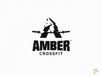 Amber Crossfit | Logo Design blackandwhite crossfit negative space amber powerful wolf workout club sports logo