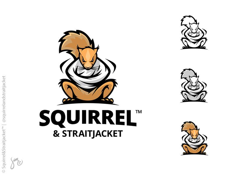 Squirrel & Straitjacket™ | Logo Design motivation never give up print straitjacket struggle fighting orange squirrel logo design