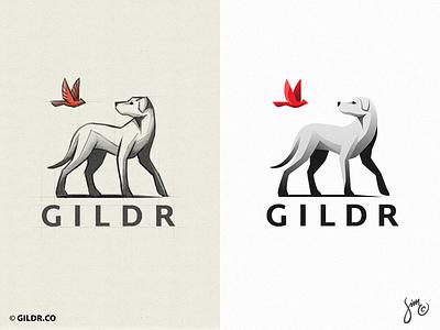 Gildr | Logo Design illustration shadow gradients goodbye animal design sketch brand identity grayscale red and black bird cardinal logo dog