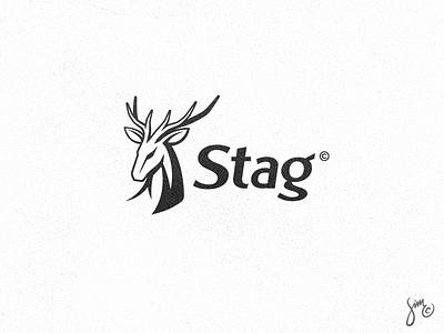 Stag #03   Logo Design horns antlers majestic grove wood forest wild animal logo black and white logo design hart deer stag