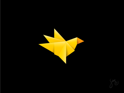 Bird | Mark Design paper layers fold sharp origami yellow bird identity app logo symbol mark