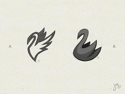Swan   Logo Sketches a or b animal design nature bird logo concept black sketches symbol mark logo logo design swan