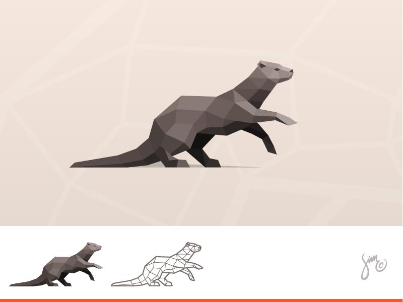 Otter | Polygonal Logo polygonal dynamic mark nature sharp dark brown design proposal low poly logo animal design animal logo otter
