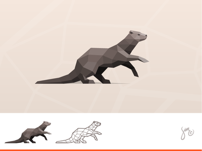 Otter | Polygonal Logo polygonal dynamic mark nature sharp dark brown design proposal low poly logo animal design animal logo otter