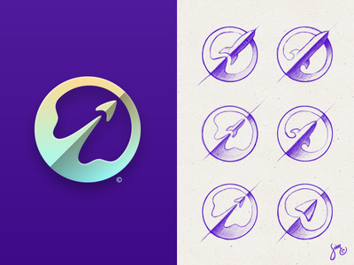 Rocket | Logo design minimal emission space mark purple icon logo design logo rounded rocket