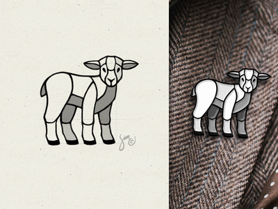 Lamb | Sketch & Logo symbol farm icon mark shading sections pin enamel logodesigner animal logodesign logo lamb