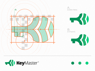 KeyMaster | Logo Design logo designer owner green symbol mark icon logo services rental grid golden ratio master home key