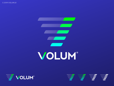 VOLUM | Logo Design accurate crypto gradients brand identity lettermark logo grid logo investing cryptocurrency tokens tech blockchain