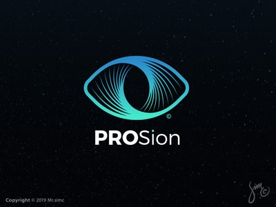 PROSion | Logo Design logo designer vivid geometric space whirlpool symbol mark gradients logo logo design eye logo for sale