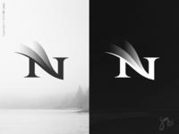 N | Lettermark 02 logo designer symbol northern lights minimal logo design bnw black and white lettern lettermark layers gradients elegant aurora borealis