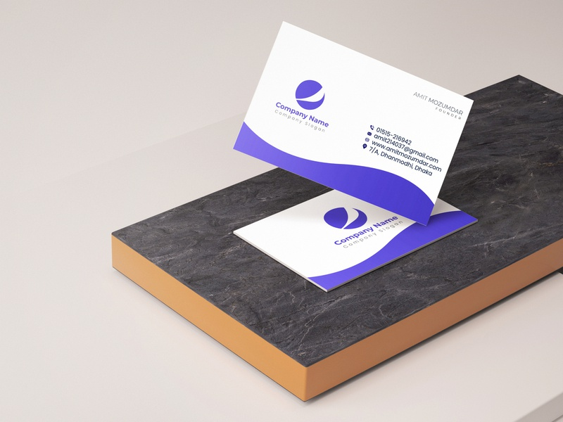 Corporate Agency Business Card Blue blue awesome wow agency corporate businesscard business card design illustration